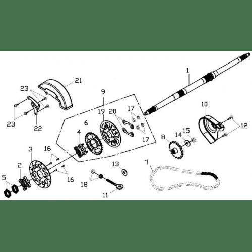 Rear Wheel Axle, Chain (Adly ATV 150S II CrossXRoad)