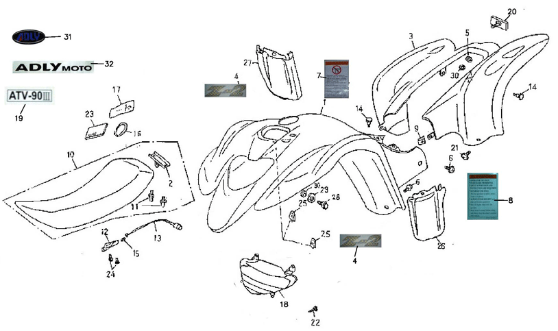 Body Cover, Seat (Adly ATV 90Z2 4T (Gear Drive))