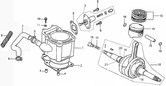 Cylinder, Piston, Crankshaft (Adly ATV Q300)