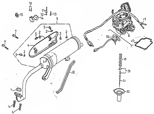 Exhaust Muffler, Carburetor (Adly GK-125 (BK-125) 2005)