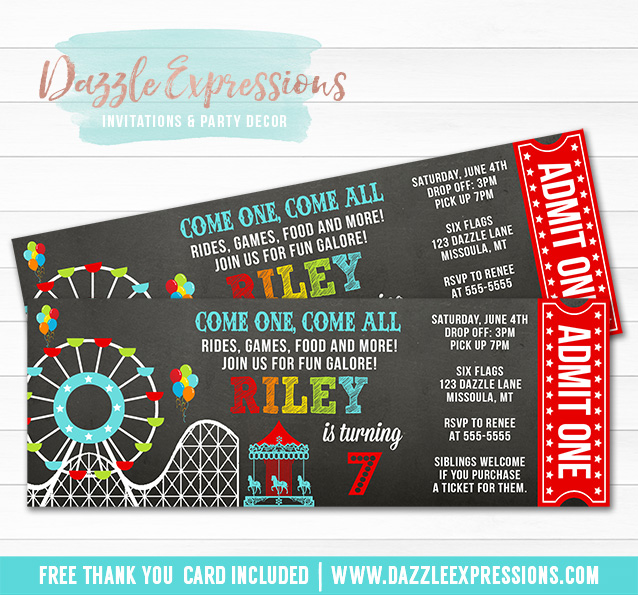 Printable Amusement Park Chalkboard Ticket Birthday