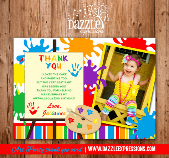 Printable Art Party Painting Birthday Photo Thank You Card