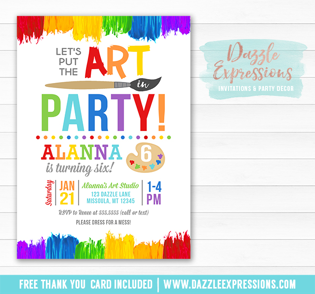 Printable Painting Art Party Birthday Invitation Kids