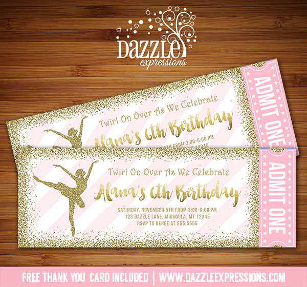 Printable Pink And Gold Glitter Ballet Ticket Birthday