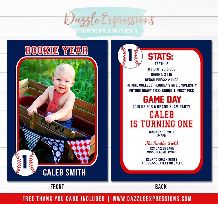 Printable Baseball Card Stats Birthday Photo Invitation