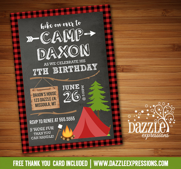 Printable Chalkboard Plaid Camping Birthday Invitation