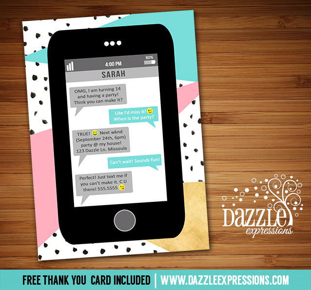 Printable Cell Phone Text Message Birthday Invitation