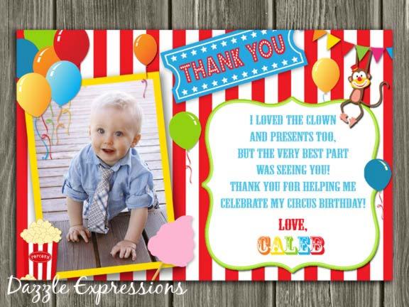 CircusCarnival Thank You Card Printable