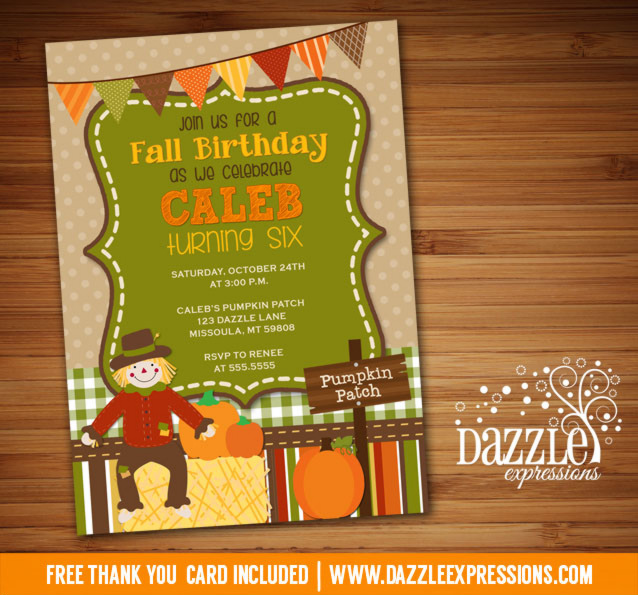 Printable Kids Fall Birthday Invitation Pumpkin Patch