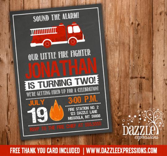 Printable Chalkboard Fire Truck Birthday Invitation Fire