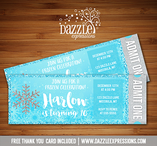 Printable Glitter Snowflake Frozen Ticket Birthday