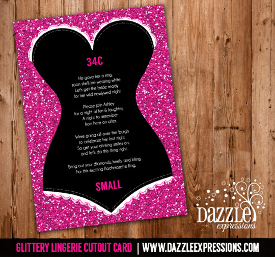 Glitter Lingerie Size Cutout Card Insert Lingerie