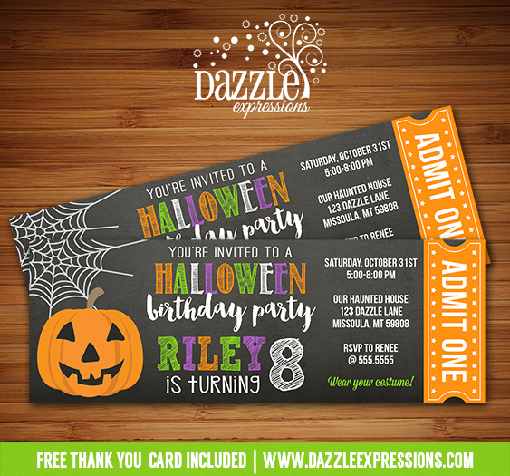 Printable Chalkboard Halloween Party Ticket Birthday