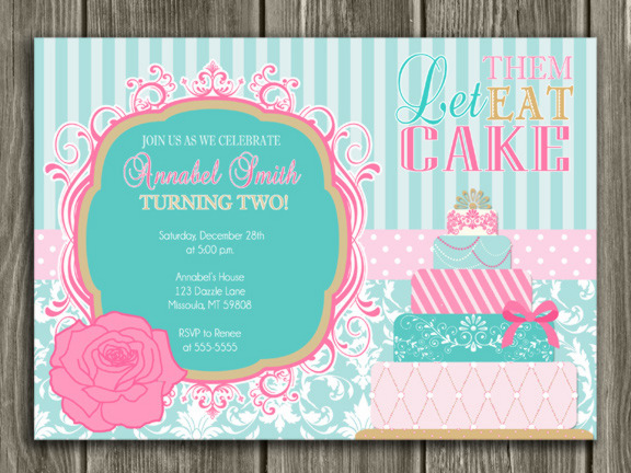 Printable Girl Cake Birthday Invitation Let Them Eat