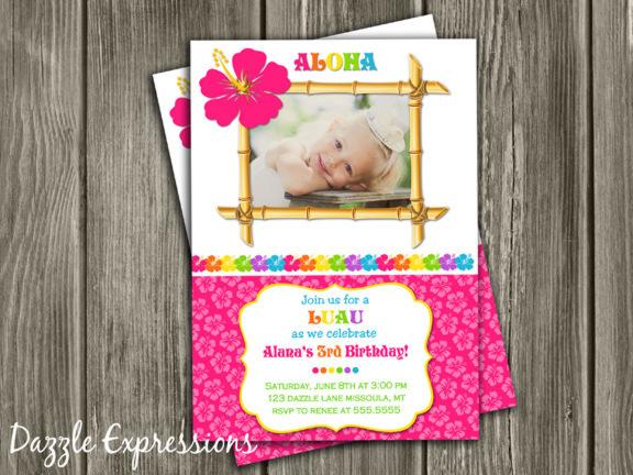 Printable Girl Luau Birthday Photo Invitation Hawaiian