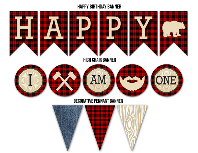 Printable Plaid Lumberjack Complete Birthday Party Package