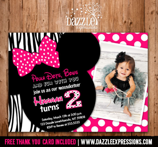 Printable Minnie Mouse Birthday Invitation Girls First
