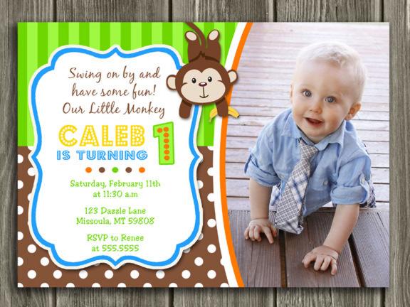 Printable Boy Monkey Birthday Photo Invitation Boy First