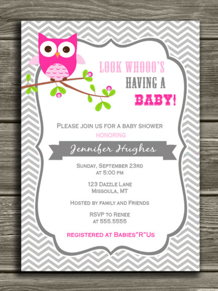 Printable Pink Owl Baby Shower Invitation Baby Girl