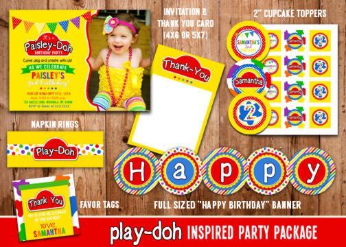 Printable Playdoh Inspired Birthday Party Package Play
