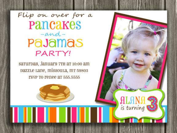 Printable Pancake And Pajamas Birthday Invitation Kids
