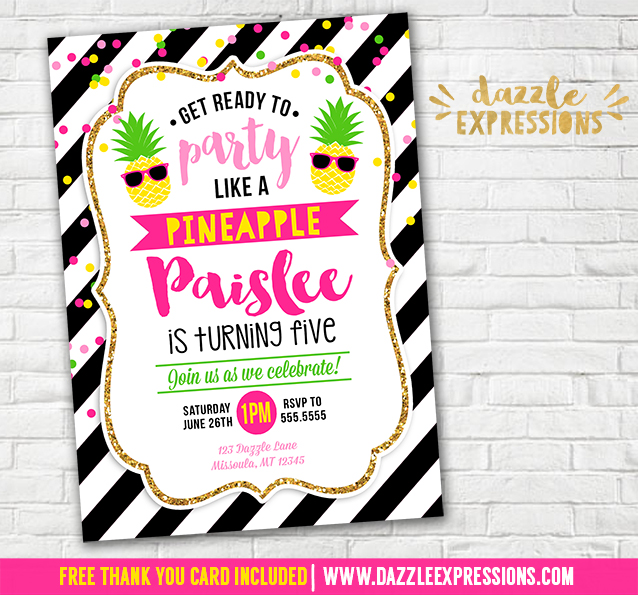 Printable Party Like A Pineapple Birthday Invitation Kids Luau Invite Summer Pool Party