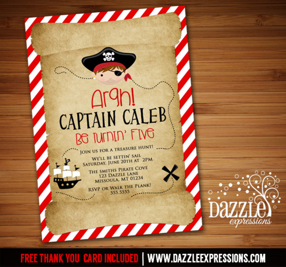 Printable Kids Pirate Birthday Invitation Treasure Hunt