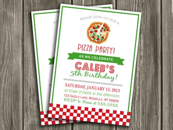 Printable Pizza Party Birthday Invitation Kids Birthday