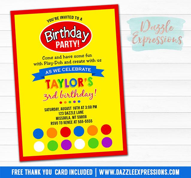 Playdoh Inspired Birthday Photo Invitation Printable
