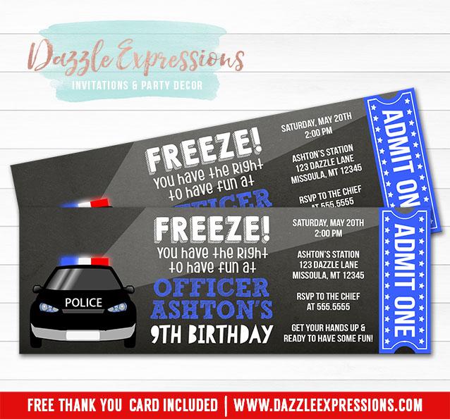 Printable Chalkboard Police Ticket Birthday Invitation