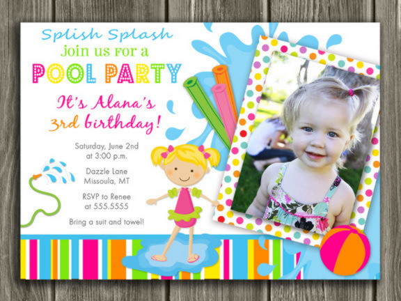 Printable Girl Pool Party Photo Birthday Invitation