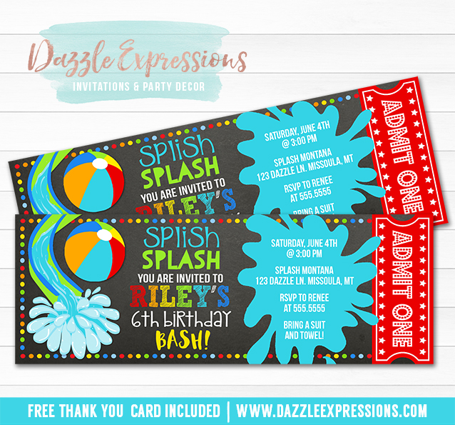 Printable Pool Party Chalkboard Ticket Birthday Invitation