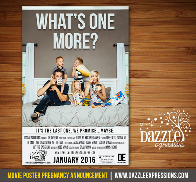 Whats One More Movie Poster Pregnancy Announcement Design