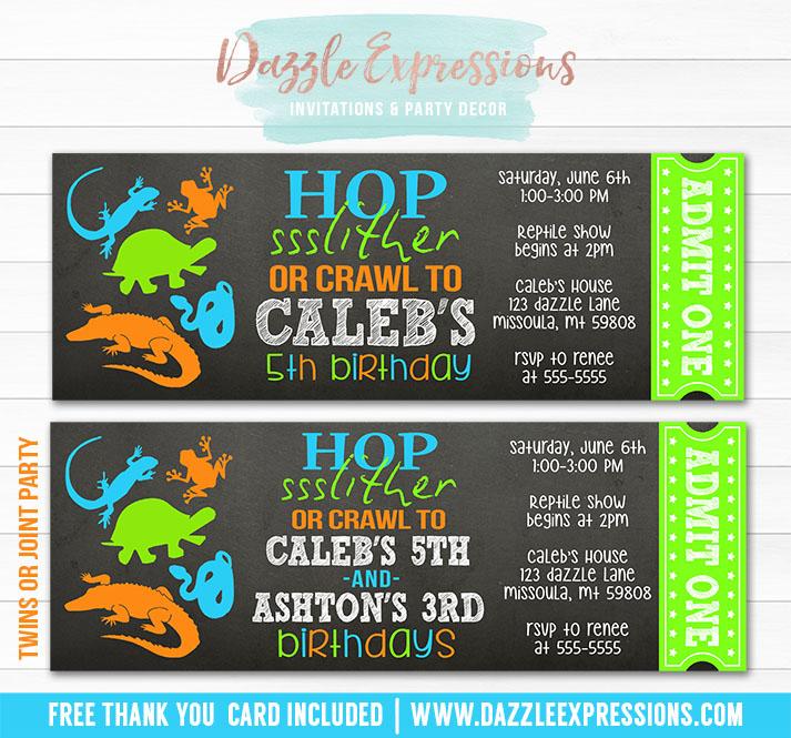 Printable Chalkboard Reptile Ticket Birthday Invitation