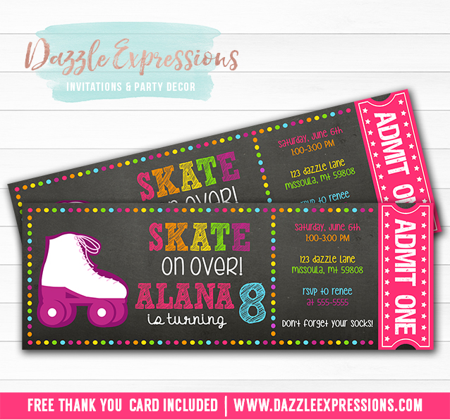 Printable Chalkboard Roller Skating Ticket Birthday