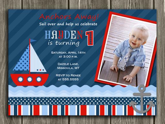 Printable Sailboat Birthday Invitation Boys 1st Birthday