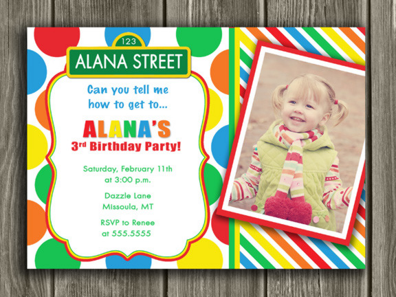 Sesame Street Inspired Birthday Photo Invitation