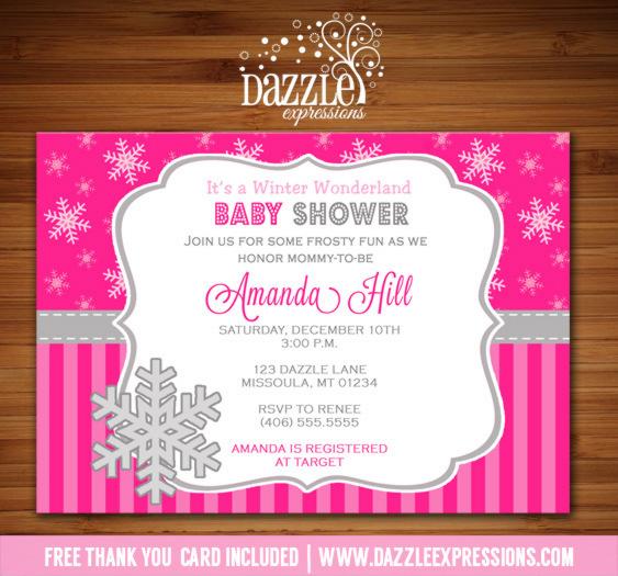 Printable Pink Winter Snowflake Baby Shower Invitation