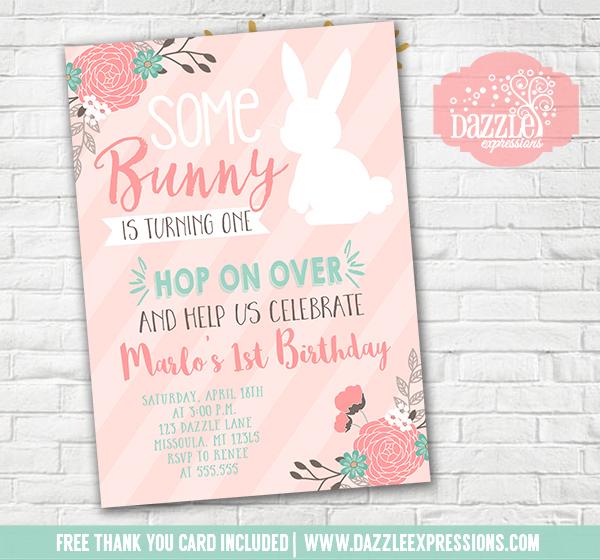 Printable Some Bunny Rabbit Birthday Invitation Spring