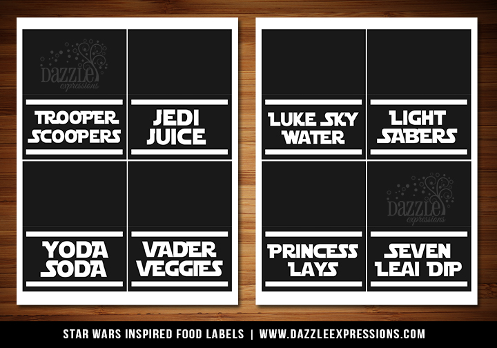 Printable Star Wars Inspired Party Food Labels Jedi