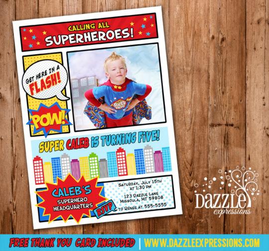 Printable Superhero Birthday Invitation Marvel Hero