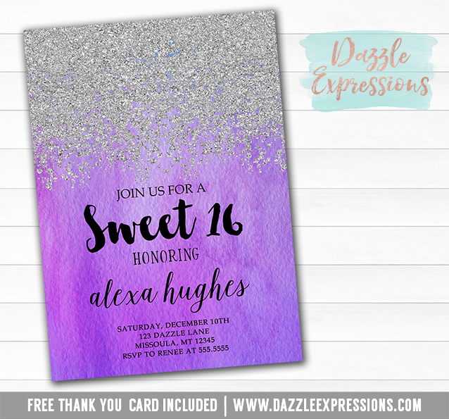 Printable Silver Glitter And Purple Ombre Watercolor