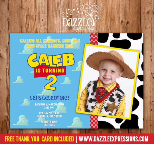 Printable Toy Story Inspired Birthday Photo Invitation