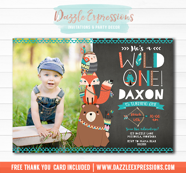 Printable Wild One Tribal Woodland Chalkboard Birthday
