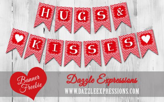 Hugs And Kisses Printable Banner