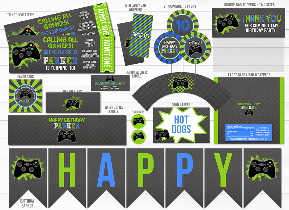 Printable Video Game Chalkboard Party Package Video Game
