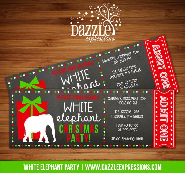 Printable White Elephant Party Chalkboard Ticket