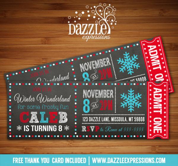Printable Winter Wonderland Chalkboard Ticket Birthday
