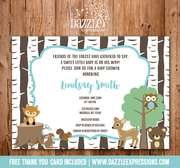 Printable Woodland Baby Shower Invitation Neutral