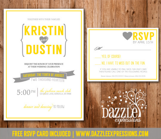 Modern Yellow And Gray Wedding Invitation RSVP Card Included